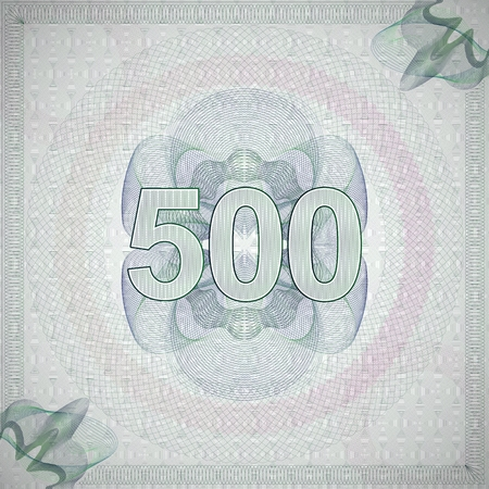 monetary: vector illustration of number 500 (five hundred) in guilloche ornate style. monetary banknote background