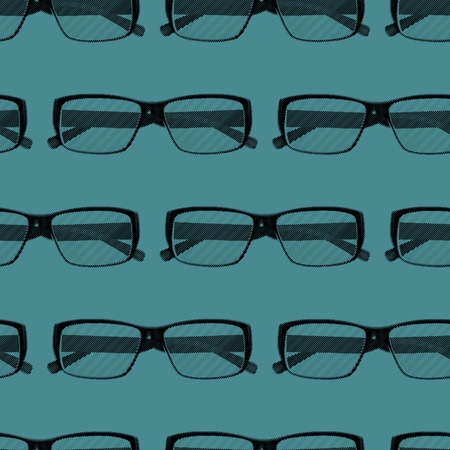 eye glasses: vector seamless pattern with engraving eye glasses. fashion background