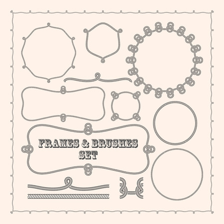 rope border: Set of vector frame templates and rope brushes. design element collection