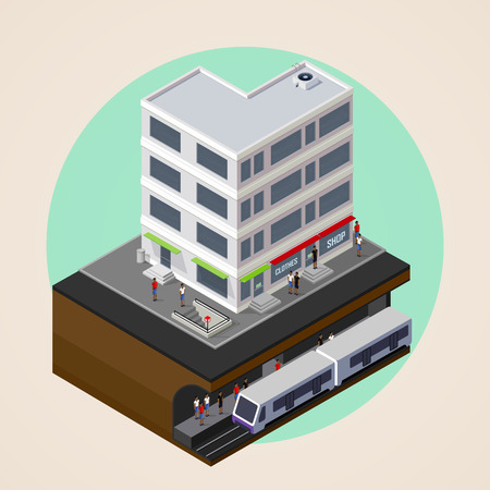 subway road: vector isometric 3d illustration of city street, building and metro (subway or underground) station. rapid transit system. urban lifestyle concept. Illustration