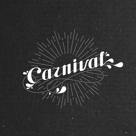 vector typographical illustration with ornate word carnival and light rays on the black cardboard texture Illustration