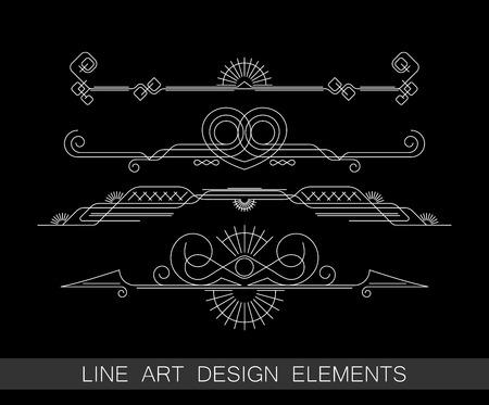 vector set of line art border elements for design Illustration