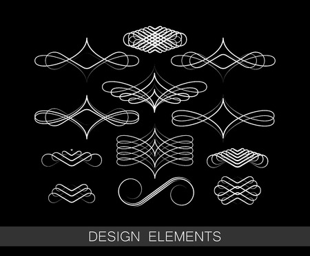 vector set of line art decorative elements for design