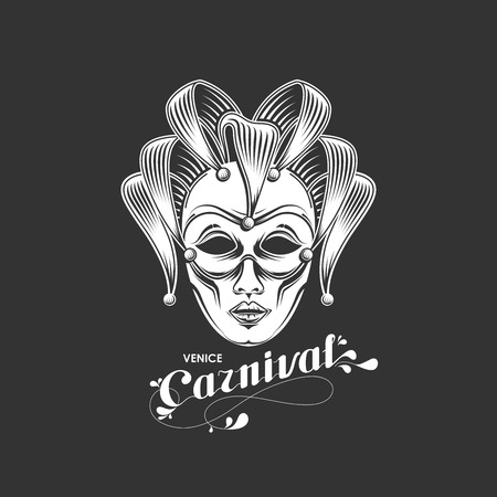 masks: vector illustration of engraving venetian carnival mask emblem and ornate lettering logo. Venice carnival symbol