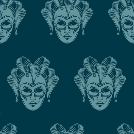 venetian carnival: vector background with engraving venetian carnival mask emblem. seamless pattern