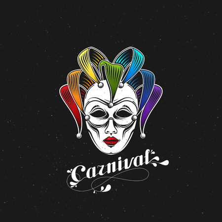 buffoon: vector illustration of engraving rainbow carnival mask emblem and ornate lettering. Masquerade symbol