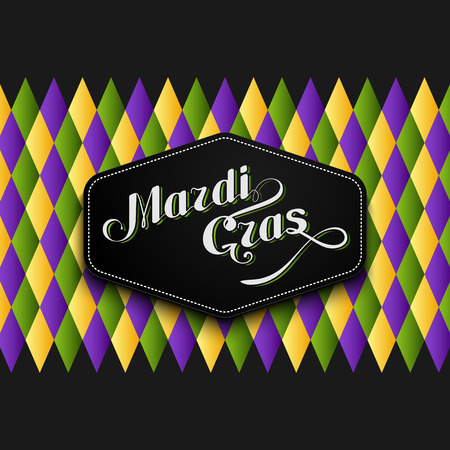 vector illustration of Mardi Gras or Shrove Tuesday lettering label on checkered background. Holiday poster or placard template