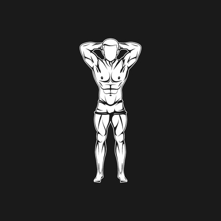 Vector illustration of muscled man body silhouette. fitness or bodybuilding logo concept Vector