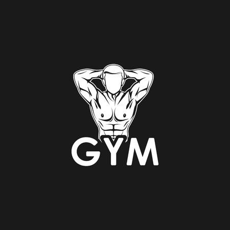 Vector illustration of muscled man body silhouette. fitness or bodybuilding gym concept