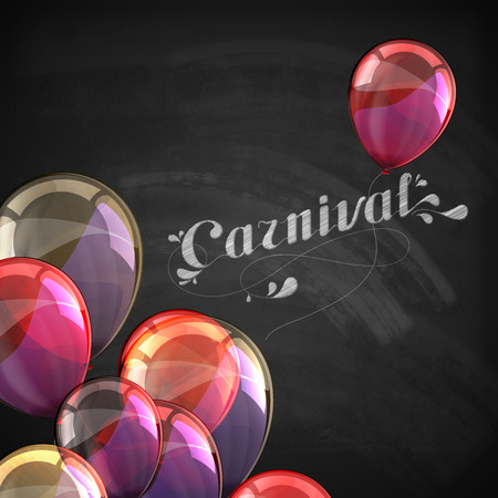 chalk texture: vector typographical illustration of ornate chalk word carnival on the blackboard texture with multicolored flying balloons