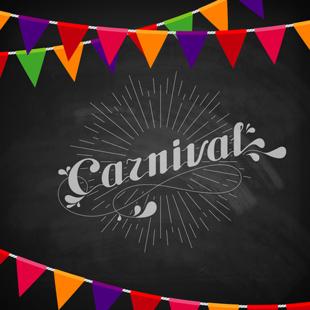 mardi gras background: vector typographical illustration of ornate chalk word carnival on the blackboard texture with multicolored festive flags
