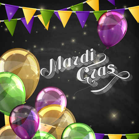 anniversary backgrounds: vector typographical illustration of ornate chalk words Mardi Gras on the blackboard texture with multicolored flying balloons and festive flags Illustration