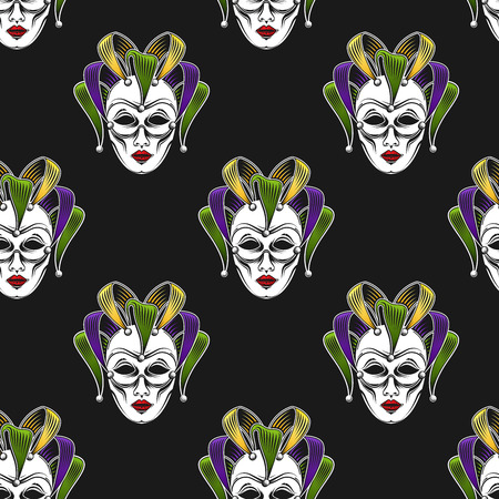 shrove: vector background with engraving Mardi Gras or Shrove Tuesday carnival mask or jester emblem. seamless pattern