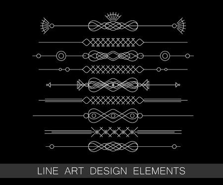 vector set of line art border elements for design  イラスト・ベクター素材