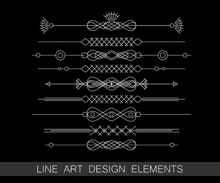 vector set of line art border elements for design 向量圖像