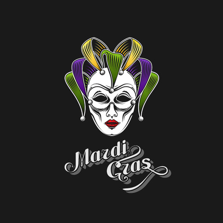 shrove tuesday: vector illustration of engraving Mardi Gras or Shrove Tuesday carnival mask emblem and ornate lettering logo. jester symbol