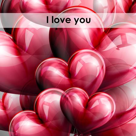 te quiero: vacaciones ilustración vectorial de los corazones del vuelo en globo rojo. Feliz Día de San Valentín. Te quiero
