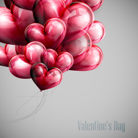 valentine's day: vector holiday illustration of flying bunch of red balloon hearts. Happy Valentines Day Illustration