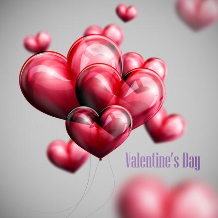 ベクトル赤い風船ハートの飛行の束の休日イラスト。幸せなバレンタインデー