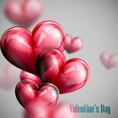 vector holiday illustration of flying bunch of red balloon hearts. Happy Valentines Day Vetores