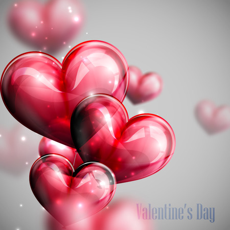 red balloon: vector holiday illustration of flying bunch of red balloon hearts with shiny sparkles. Happy Valentines Day
