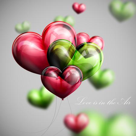 hintergrund liebe: Vektor-Urlaub Abbildung des Fliegens B�ndel von mehrfarbigen Ballons Herzen. Valentinstag oder Hochzeit Hintergrund. Liebe liegt in der Luft Illustration