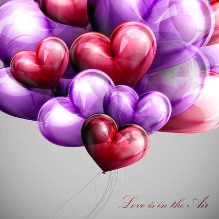 i love you symbol: vector holiday illustration of flying bunch of multicolored balloon hearts. Valentines Day or wedding background. Love is in the Air