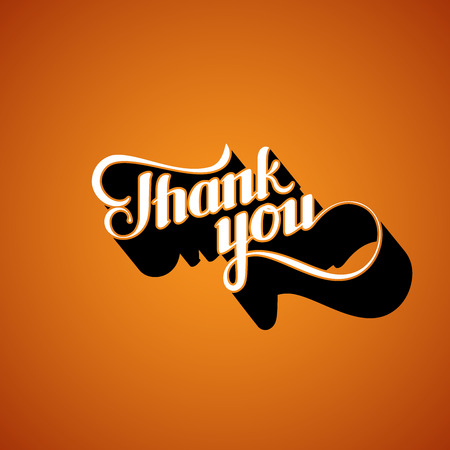 acknowledgment: vector typographic illustration of handwritten Thank You retro label. lettering composition Illustration