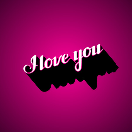 acknowledgment: vector typographic illustration of handwritten I love you retro label. lettering composition Illustration