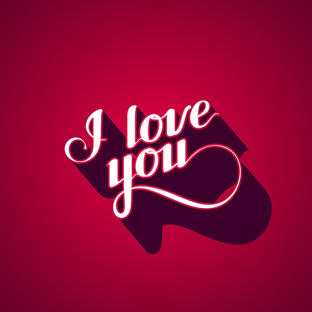 propose: vector typographic illustration of handwritten I love you retro label. lettering composition Illustration