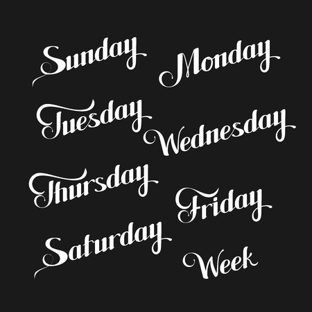typography signature: vector typographic illustration of handwritten days of the week (Sunday, Monday, Tuesday, Wednesday, Thursday, Friday, Saturday) retro label. lettering composition