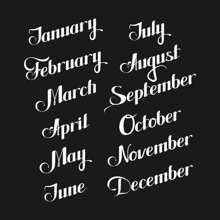 december: vector typographic illustration of handwritten months of the year (February, March, July, October, December and others) retro labels. lettering composition