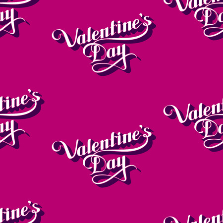 st valentine's day: vector seamless pattern of handwritten St. Valentines Day retro labels. holiday lettering background