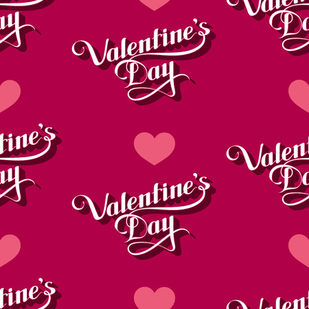 st valentine's day: vector seamless pattern of handwritten St. Valentines Day retro labels and hearts. holiday lettering background