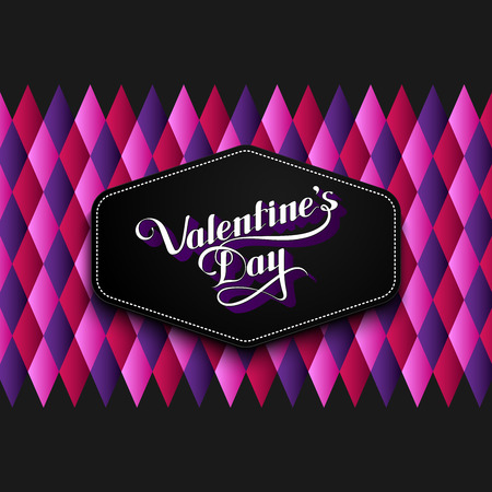 st  valentine's day: vector typographic illustration of handwritten St. Valentines Day retro label on the multicolored geometric background. holiday lettering composition