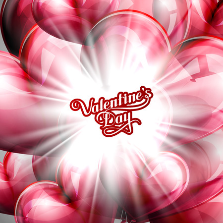 st  valentine's day: vector holiday illustration of  St. Valentines Day label on the festive red balloon hearts background with shiny burst, explosion or flash