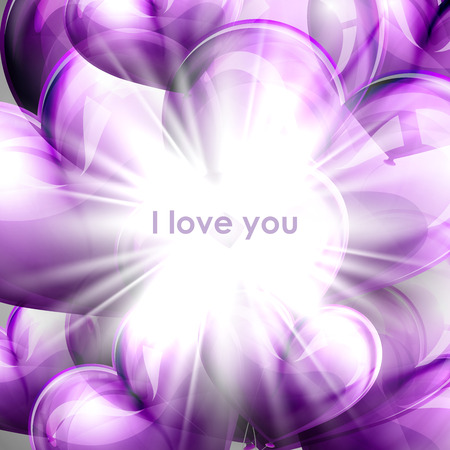 flying balloon: vector holiday illustration of purple flying balloon hearts with shiny burst, explosion or flash. Valentines Day or wedding background. I love you Illustration