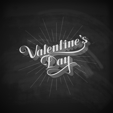 st valentines day: vector chalk typographic illustration of handwritten St. Valentines Day retro label on the blackboard background. holiday lettering composition