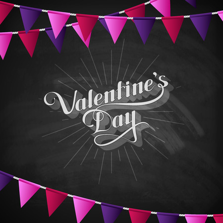 st  valentine's day: vector chalk typographic illustration of handwritten St. Valentines Day retro label on the blackboard background with festive flags. holiday lettering composition
