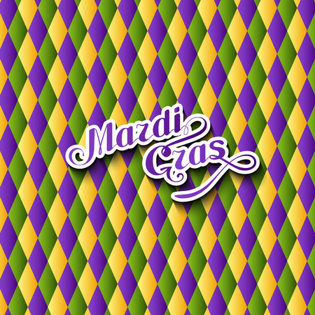 poster designs: vector illustration of Mardi Gras or Shrove Tuesday lettering label on checkered background. Holiday poster or placard template