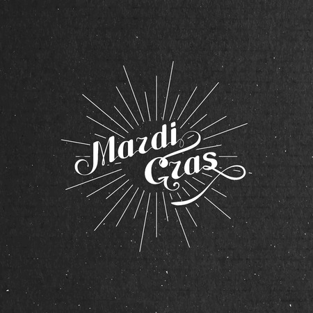 cardboard texture: vector typographical illustration of ornate Mardi Gras label on the black cardboard texture Illustration