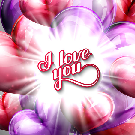 acknowledgment: vector holiday illustration of  I love you label on the festive balloon hearts background with shiny burst, explosion or flash