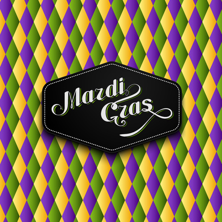 checkered label: vector illustration of Mardi Gras or Shrove Tuesday lettering label on checkered background. Holiday poster or placard template