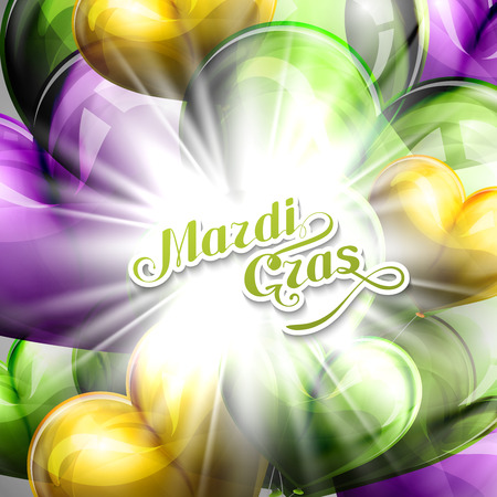 shrove: vector illustration of Mardi Gras or Shrove Tuesday lettering label on the flying balloon hearts background with shiny explosion, burst or flash . Holiday poster or placard template