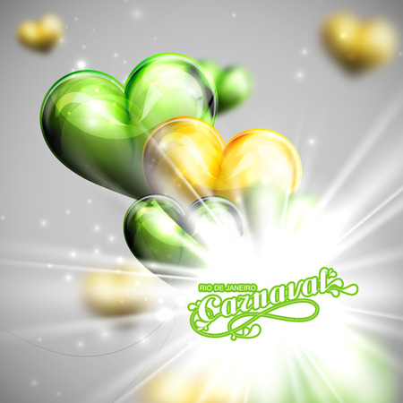 vector illustration of brazilian Carnival lettering label on the flying balloon hearts background with shiny explosion, burst or flash . Holiday poster or placard template Vector
