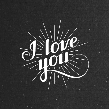 acknowledgment: vector typographic illustration of handwritten I love you retro label. lettering composition on the black cardboard texture