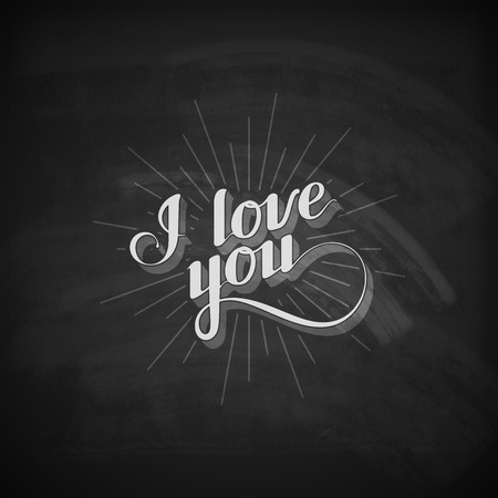 acknowledgment: vector chalk typographic illustration of handwritten I love you retro label. lettering composition on the blackboard texture Illustration