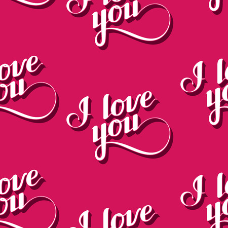 love confession: vector seamless pattern of handwritten I love you retro labels. Illustration