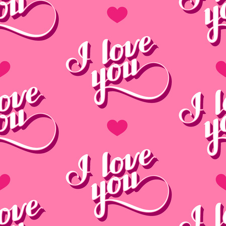 acknowledgment: vector seamless pattern of handwritten I love you retro labels. Illustration