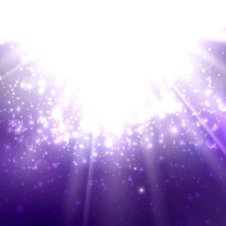 deep purple: abstract illustration of light rays on the deep purple background with bubbles or sparkles. vector